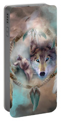 Wolf - Dreams Of Peace Portable Battery Charger by Carol Cavalaris