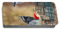 Woodpeckers And Blue Jays Square Portable Battery Charger by Bill Wakeley