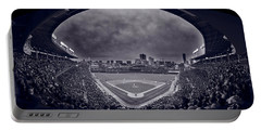 Wrigley Field Night Game Chicago Bw Portable Battery Charger by Steve Gadomski