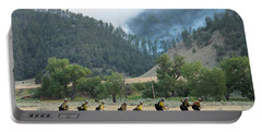 Portable Battery Charger featuring the photograph Wyoming Hot Shots Walk To Their Assignment by Bill Gabbert