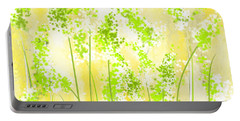 Yellow And Green Art Portable Battery Charger by Lourry Legarde