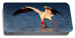 Yellow-billed Stork Hunting For Food Portable Battery Charger by Johan Swanepoel