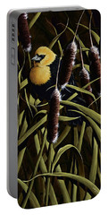 Yellow Headed Blackbird And Cattails Portable Battery Charger by Rick Bainbridge