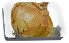 Yellow Onion Portable Battery Charger by Irina Sztukowski