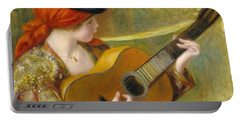 Young Spanish Woman With A Guitar Portable Battery Charger by Pierre Auguste Renoir