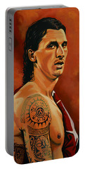 Zlatan Ibrahimovic Painting Portable Battery Charger by Paul Meijering