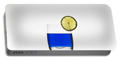 Blue Cocktail With Lemon Portable Battery Charger by Joana Kruse