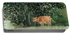 Cow In Pasture Portable Battery Charger by Winslow Homer