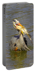Bigger Fish To Fry Portable Battery Charger by Robert Frederick