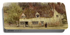 By The Old Cottage Portable Battery Charger by Helen Allingham