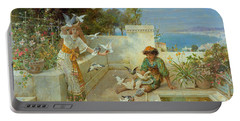 Children By The Mediterranean  Portable Battery Charger by William Stephen Coleman