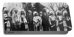 Coolidge With Native Americans Portable Battery Charger by Photo Researchers