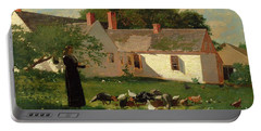 Farmyard Scene Portable Battery Charger by Winslow Homer
