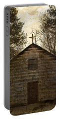 Grungy Hand Hewn Log Chapel Portable Battery Charger by John Stephens