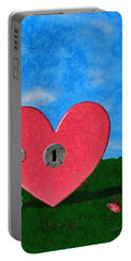 Key To My Heart Portable Battery Charger by Jeff Kolker