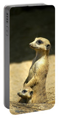 Meerkat Mother And Baby Portable Battery Charger by Carolyn Marshall