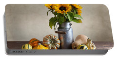 Pumpkins And Sunflowers Portable Battery Charger by Nailia Schwarz
