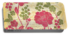 Raspberry Sorbet Floral 1 Portable Battery Charger by Debbie DeWitt