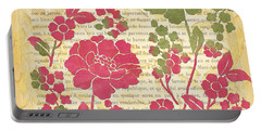 Raspberry Sorbet Floral 2 Portable Battery Charger by Debbie DeWitt