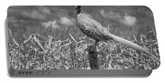 Ringed Neck Pheasant On A Fencepost By A Cornfield Portable Battery Charger by Randall Nyhof