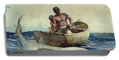 Shark Fishing Portable Battery Charger by Winslow Homer
