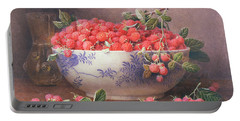 Still Life Of Raspberries In A Blue And White Bowl Portable Battery Charger by William B Hough