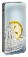 Still Life With A Half Slice Of Lemon Portable Battery Charger by Priska Wettstein
