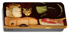 Still Life With Cat And Mouse Portable Battery Charger by Anonymous