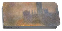The Houses Of Parliament At Sunset Portable Battery Charger by Claude Monet
