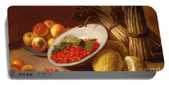 Still Life Of Raspberries Lemons And Asparagus  Portable Battery Charger by Italian School