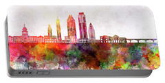 Austin Skyline In Watercolor Background Portable Battery Charger by Pablo Romero