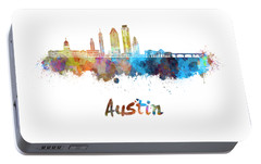 Austin Skyline In Watercolor Portable Battery Charger by Pablo Romero