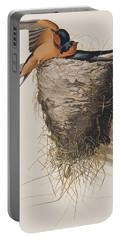 Barn Swallow Portable Battery Charger by John James Audubon