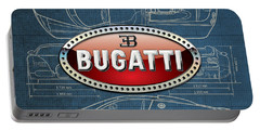 Bugatti 3 D Badge Over Bugatti Veyron Grand Sport Blueprint  Portable Battery Charger by Serge Averbukh