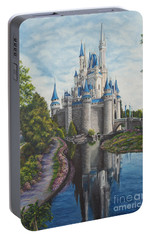 Cinderella Castle  Portable Battery Charger by Charlotte Blanchard