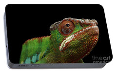 Closeup Head Of Panther Chameleon, Reptile In Profile View Isolated On Black Background Portable Battery Charger by Sergey Taran