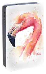 Flamingo Watercolor  Portable Battery Charger by Olga Shvartsur