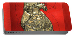 Heart Of Gold - Golden Human Heart On Red Canvas Portable Battery Charger by Serge Averbukh