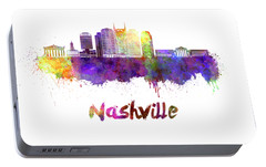 Nashville Skyline In Watercolor Portable Battery Charger by Pablo Romero