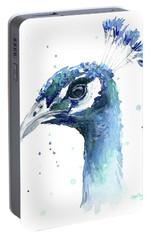 Peacock Watercolor Portable Battery Charger by Olga Shvartsur