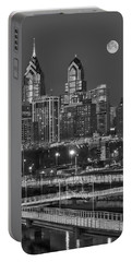Philly Skyline Full Moon Portable Battery Charger by Susan Candelario