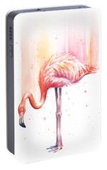 Pink Flamingo Watercolor Rain Portable Battery Charger by Olga Shvartsur