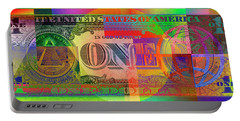 Pop-art Colorized One U. S. Dollar Bill Reverse Portable Battery Charger by Serge Averbukh