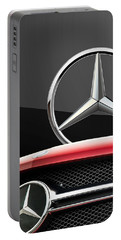Red Mercedes - Front Grill Ornament And 3 D Badge On Black Portable Battery Charger by Serge Averbukh