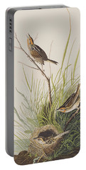 Sharp Tailed Finch Portable Battery Charger by John James Audubon