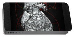 Silver Human Heart On Black Canvas Portable Battery Charger by Serge Averbukh