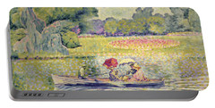 The Promenade In The Bois De Boulogne Portable Battery Charger by Henri-Edmond Cross