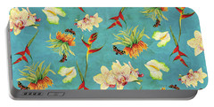 Tropical Island Floral Half Drop Pattern Portable Battery Charger by Audrey Jeanne Roberts
