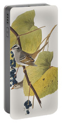 White-crowned Sparrow Portable Battery Charger by John James Audubon