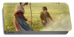 White Frost Portable Battery Charger by Camille Pissarro